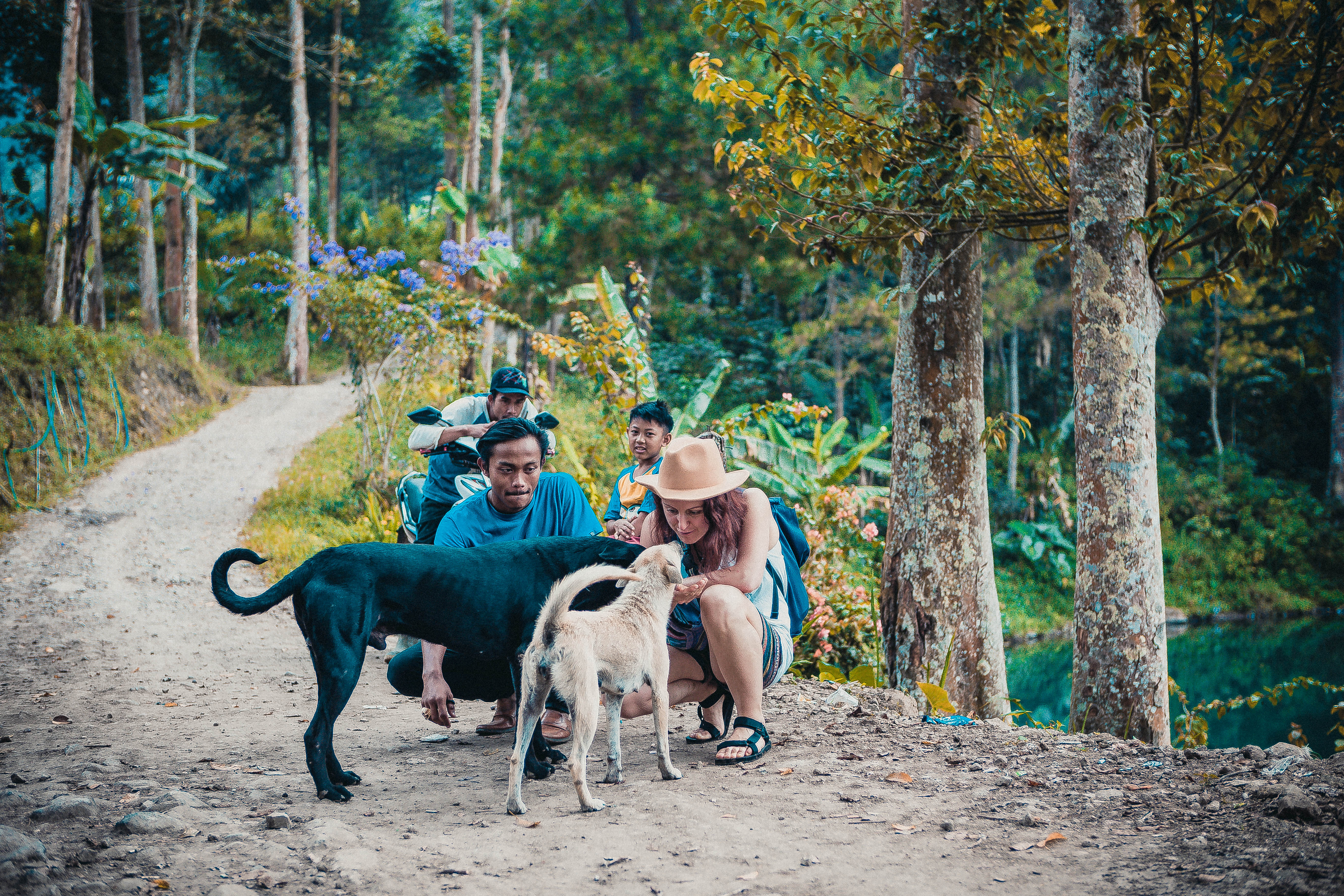 kids local people in bandung west province culture everyday life local community smiley children dogs local javanese