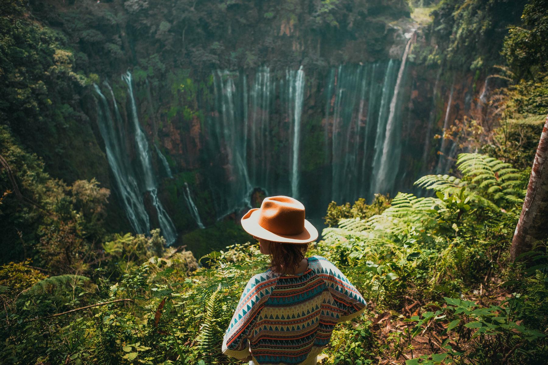 java nature east central java admiring waterfall tumpak sewu blue sun happy