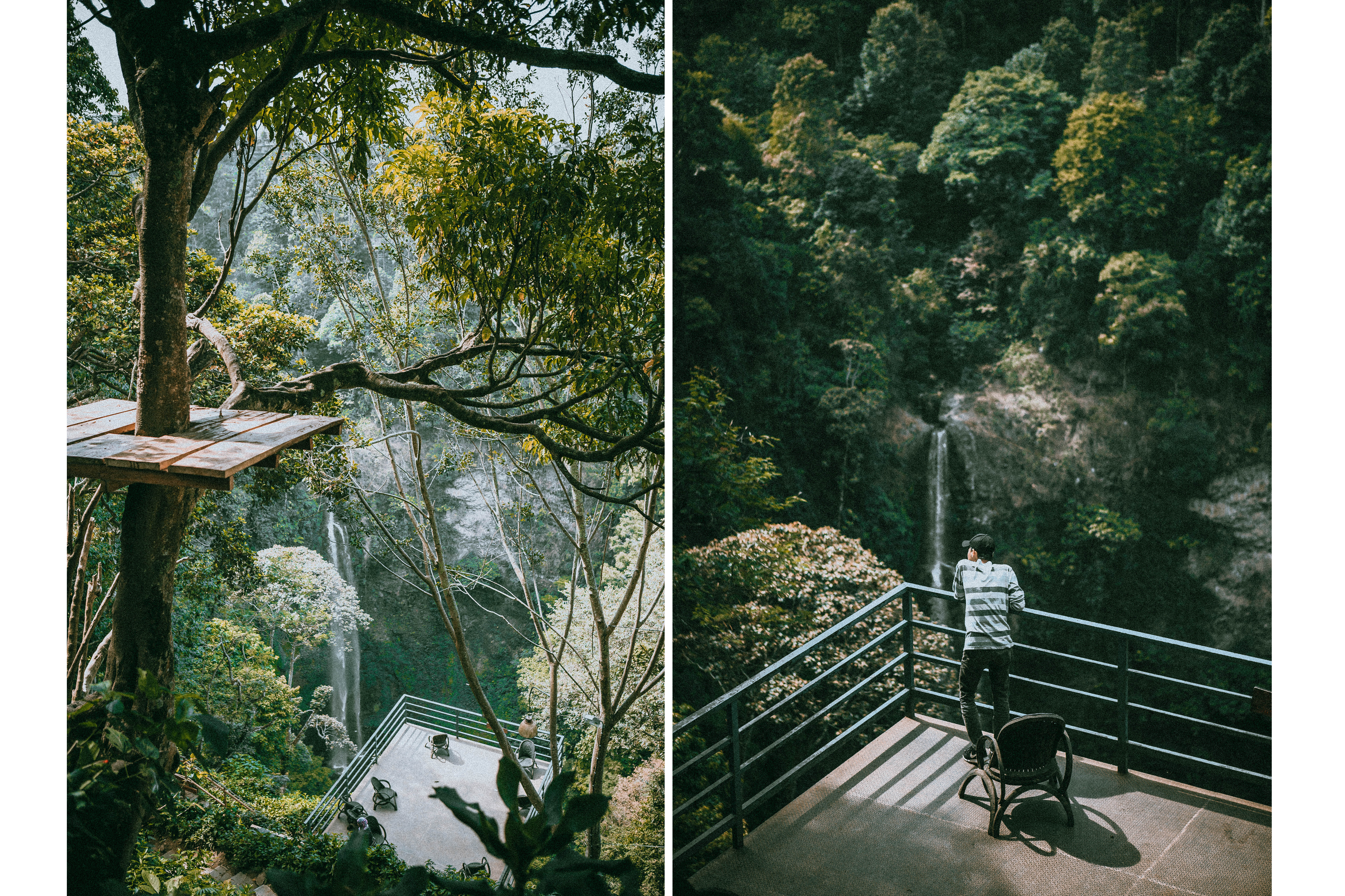 sitting in front of the view bandung west java green forest waterfall cimahi waterfall