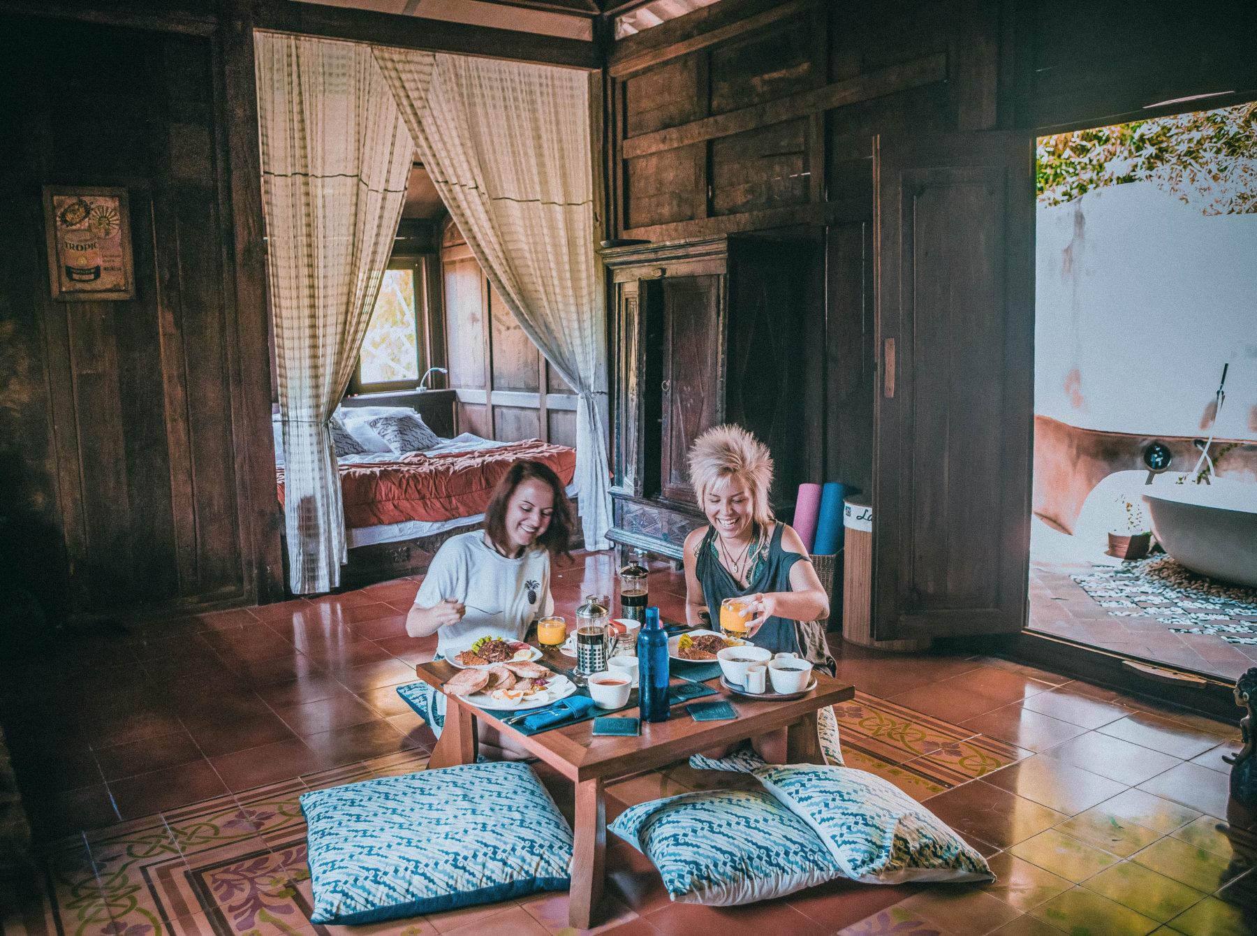breakfast in private villa yogyakarta homestay sewon village eco lodge eco friendly vegan breakfast beautiful interior