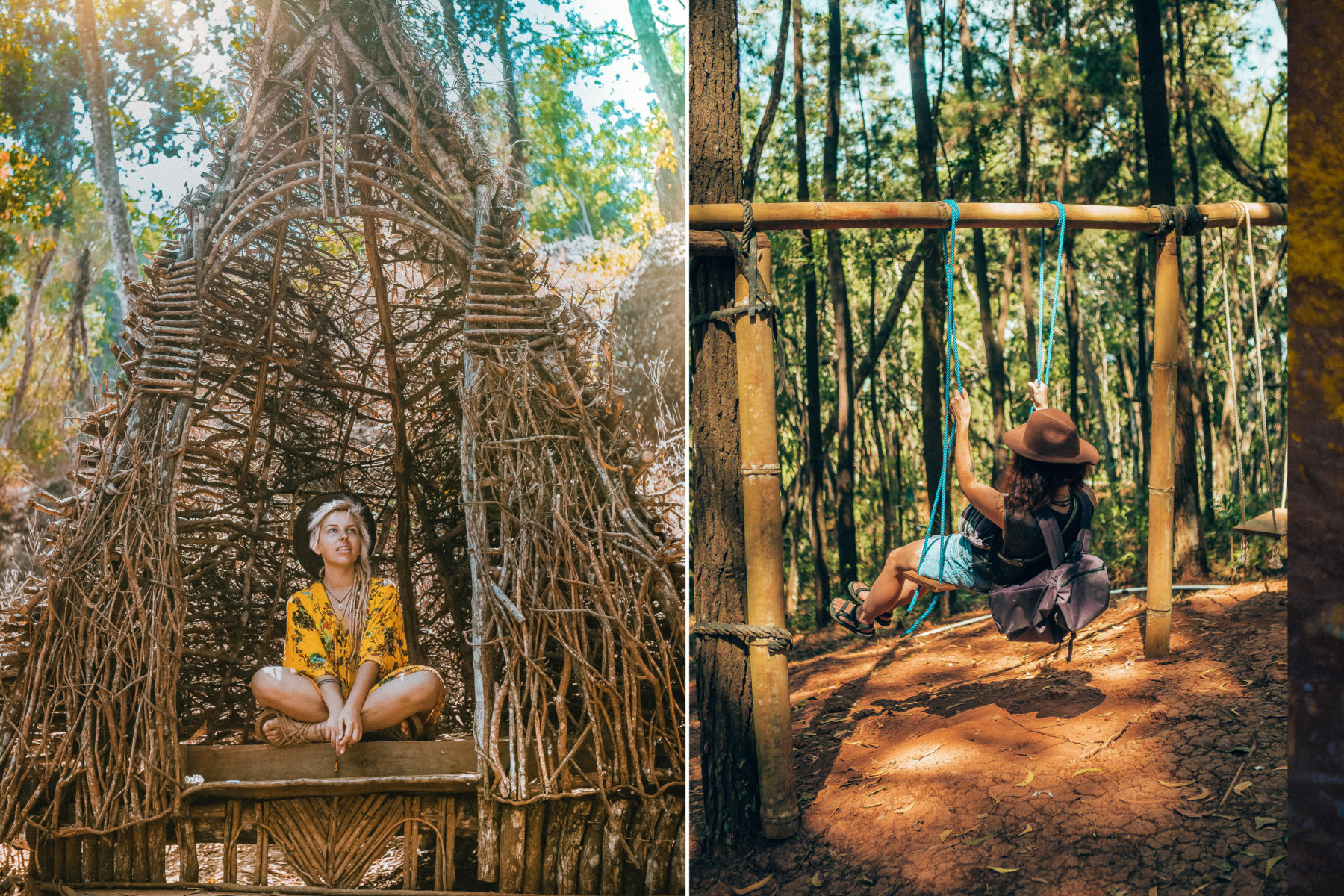 indonesia java yogyakarta jogja south java hobbit house pine trees green exploring