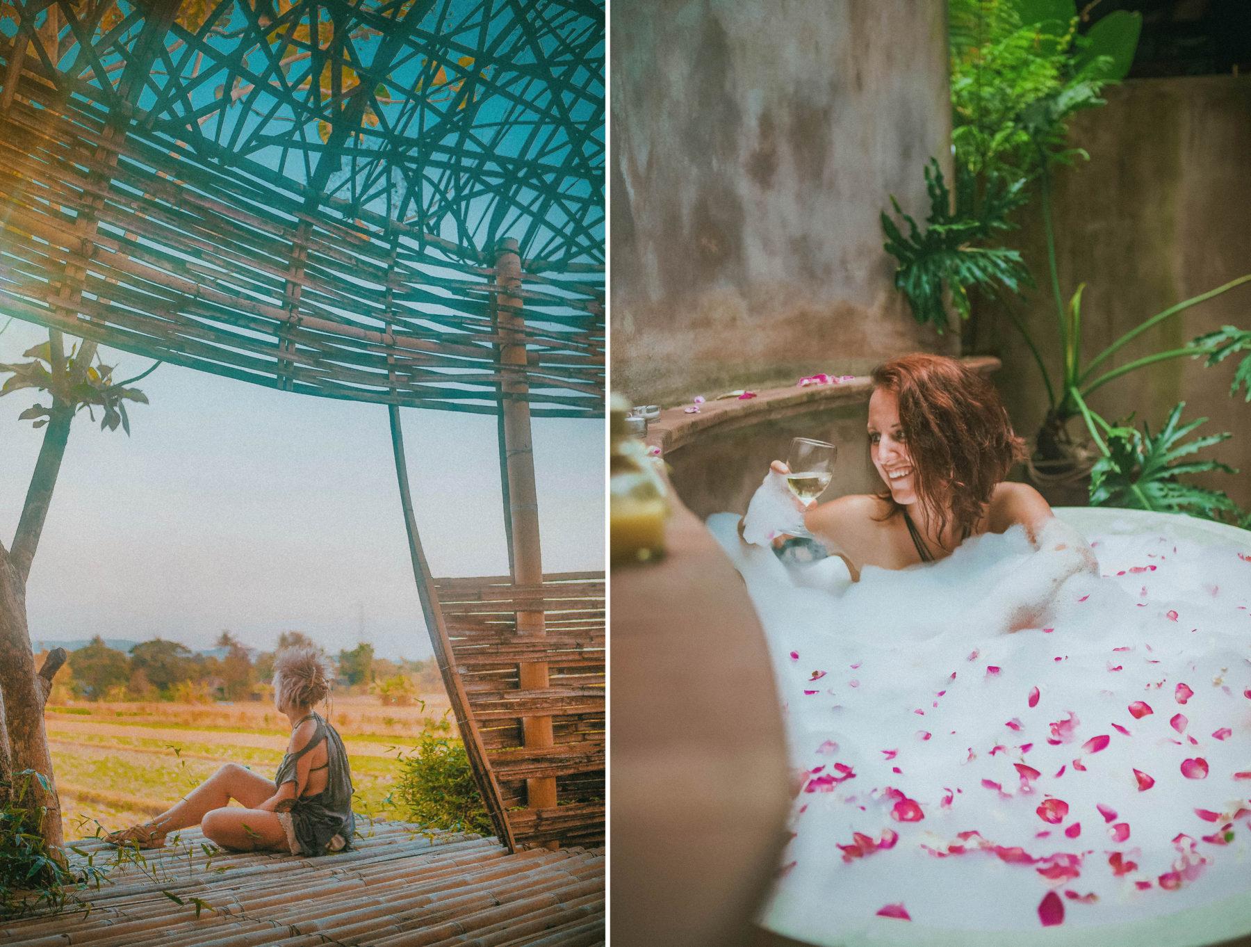 breakfast in private villa yogyakarta homestay sewon village eco lodge eco friendly vegan breakfast beautiful interior view bath outside bubble bath relax wine