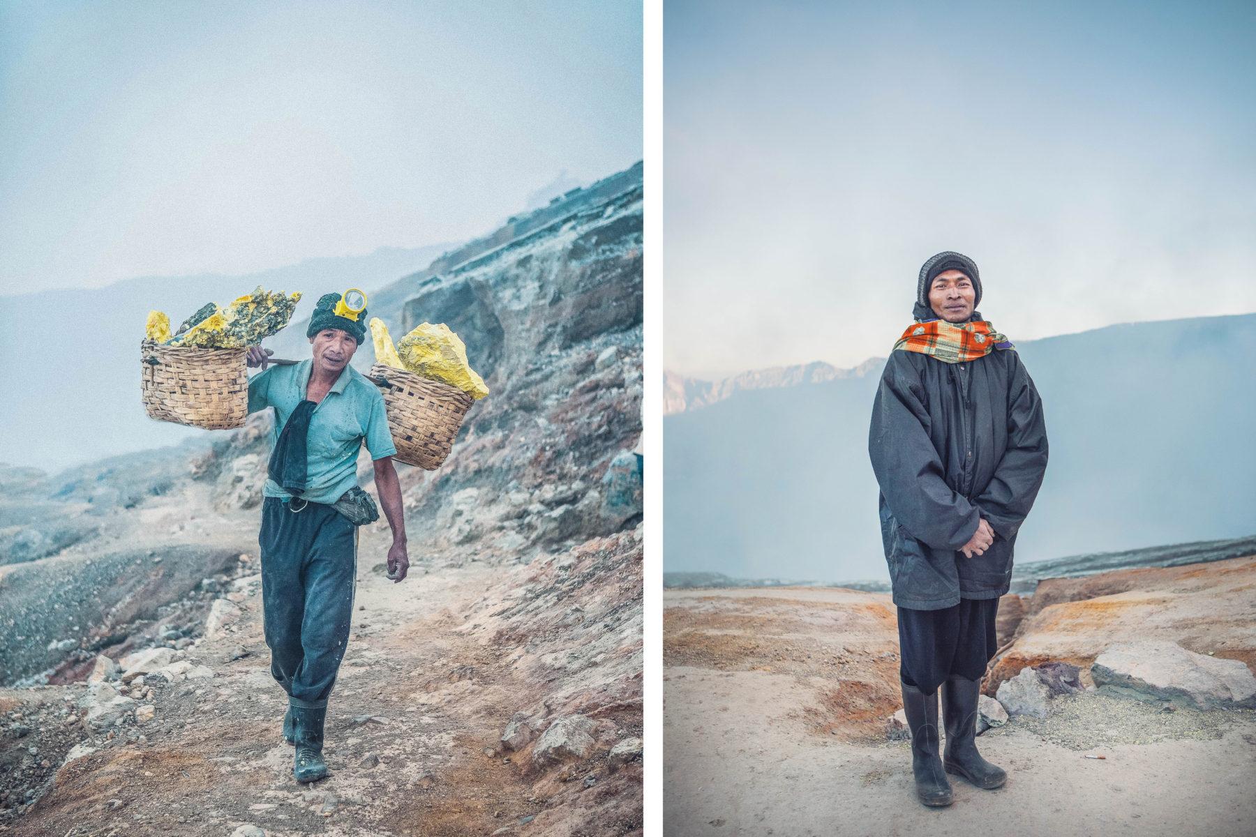 kawah ijen east java sulphur crater lake sunrise hike up blue lagoon sulphur miner hardest job on earth