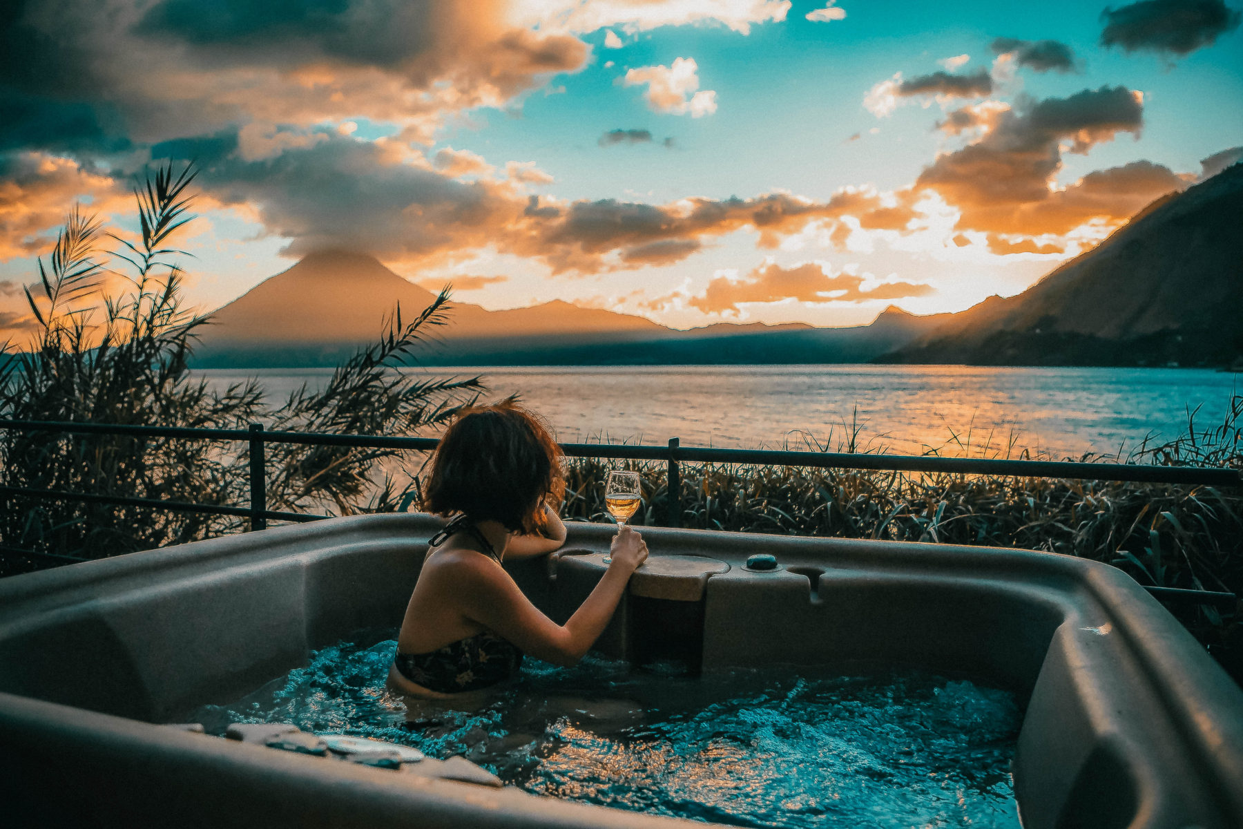 guatemala lake atitlan lago central america most beautiful lake in the world blue water sunny day sunset