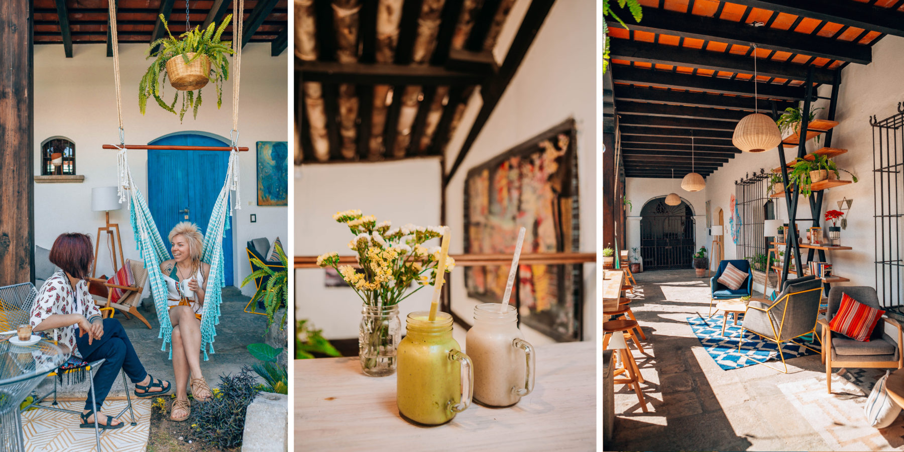 antigua guatemala colourful colonian central america local people volcano streets smoothies cafs ara hostel colourful interior