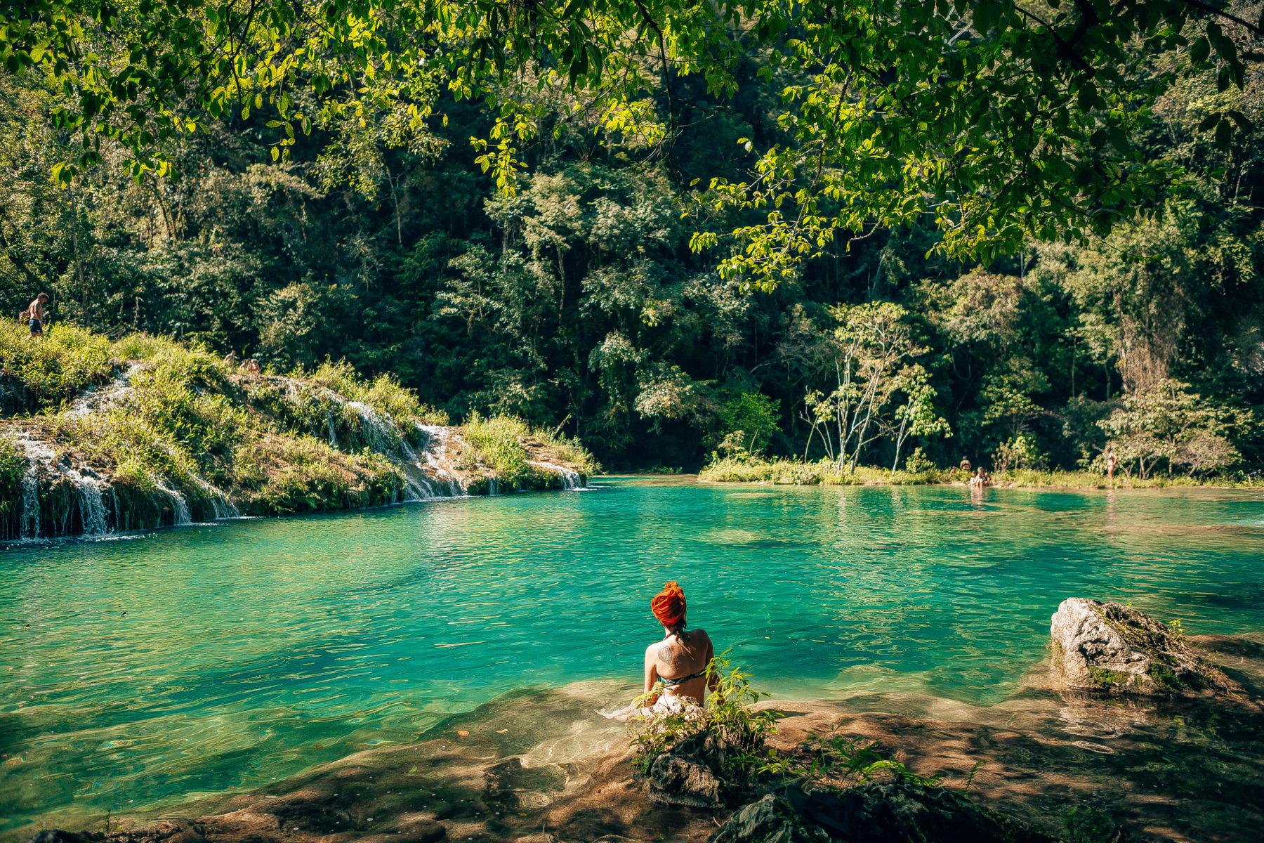guatemala semuc champey turquoise pools jungle green humid swim adventure far away hidden paradise el retiro lodge in the jungle cacao pure natural pools tropics