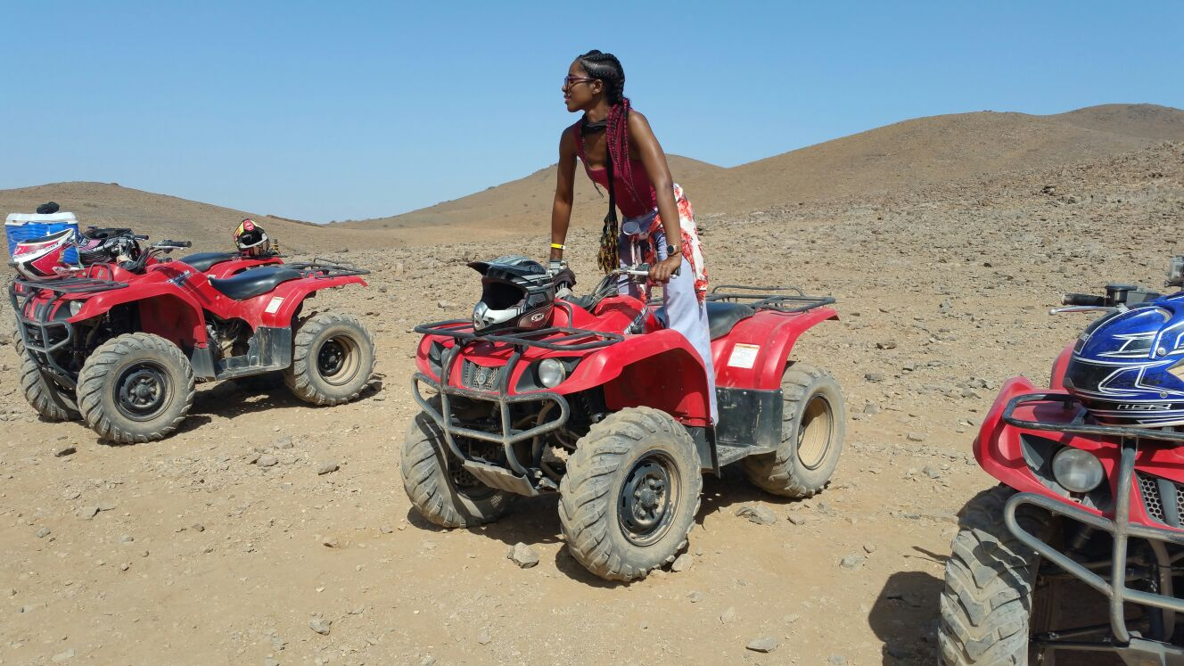 Looking out onto the Atlas Mountains on the quad bike