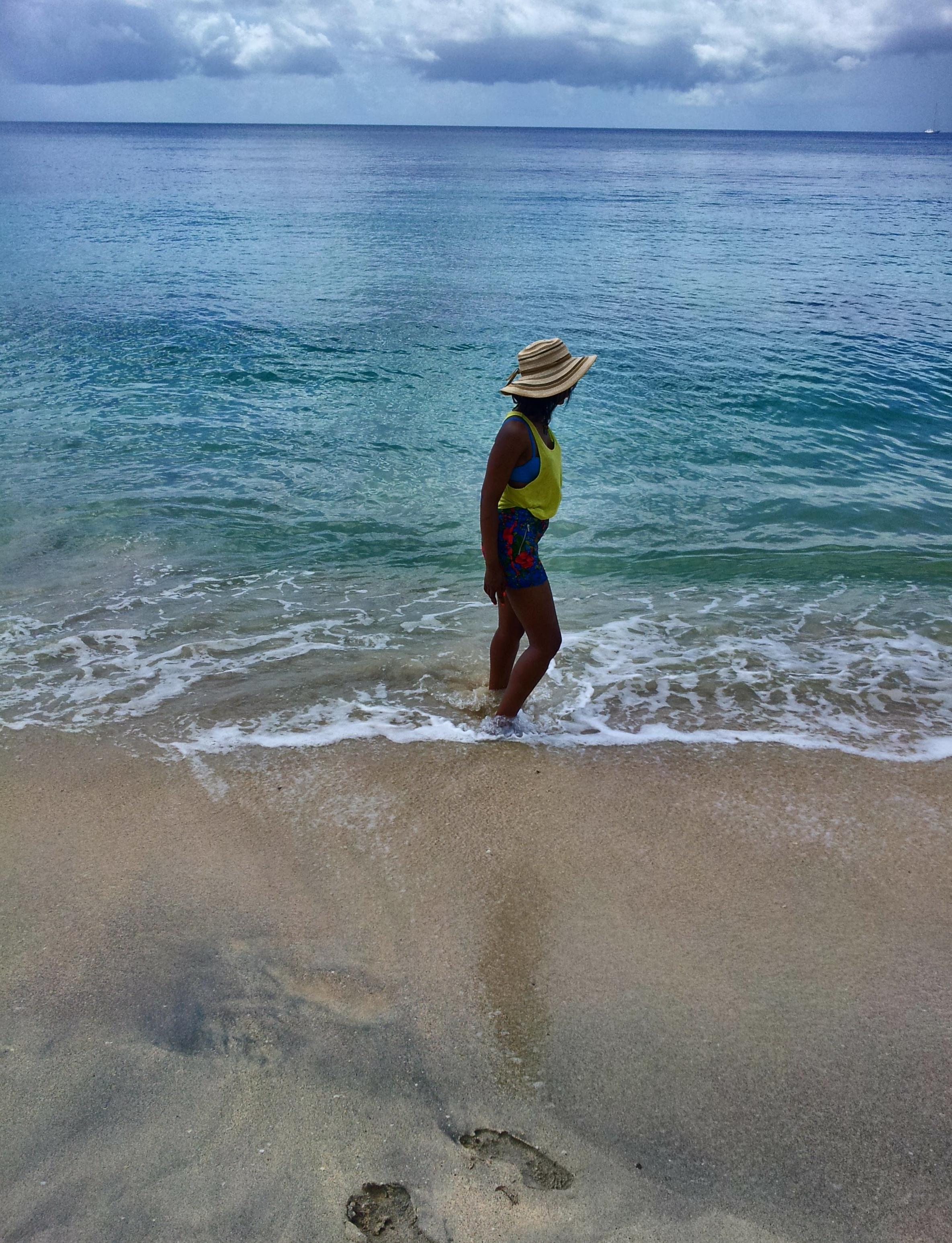 Strolling on Grande Anse beach Grenada
