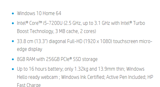 HP Spectre technical features
