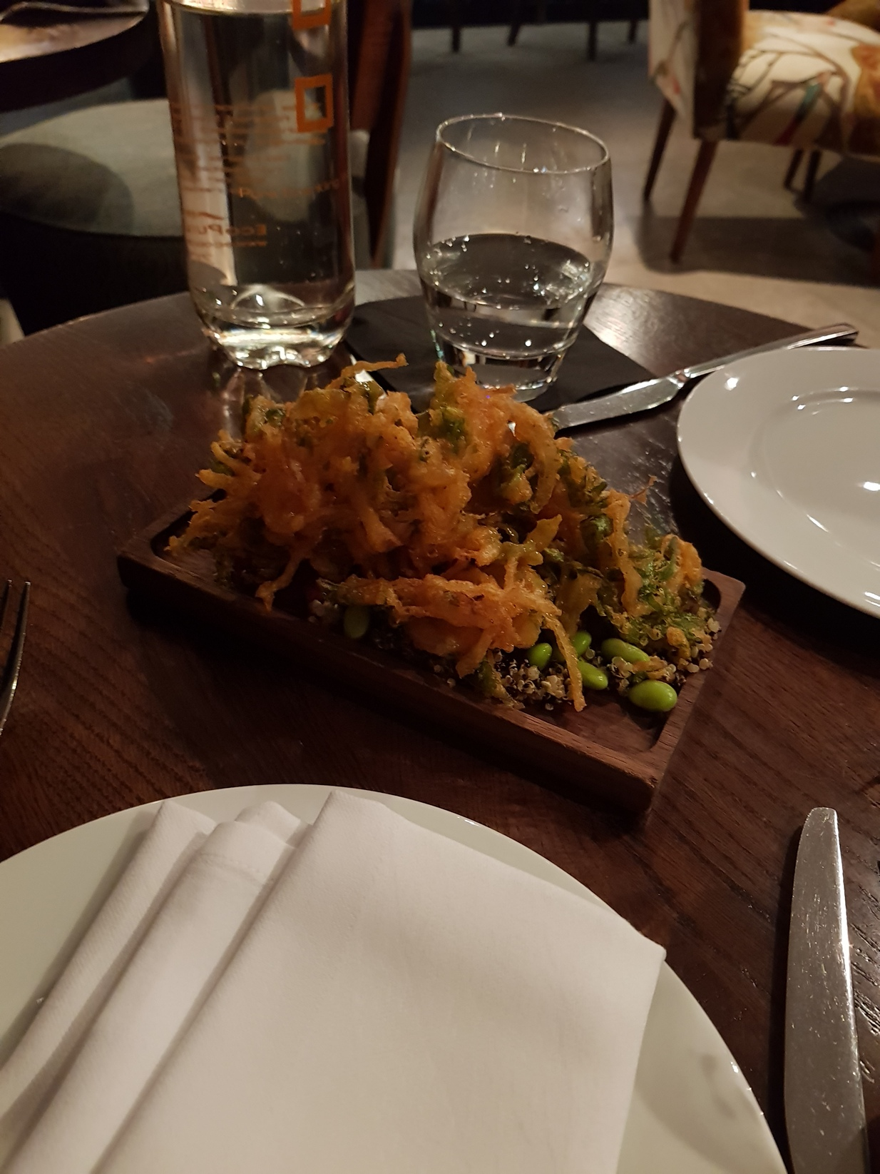 Benares quinoa salad spinach and red onion bhajia