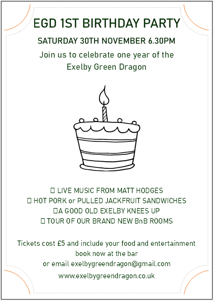 Your invitation to a knees-up!