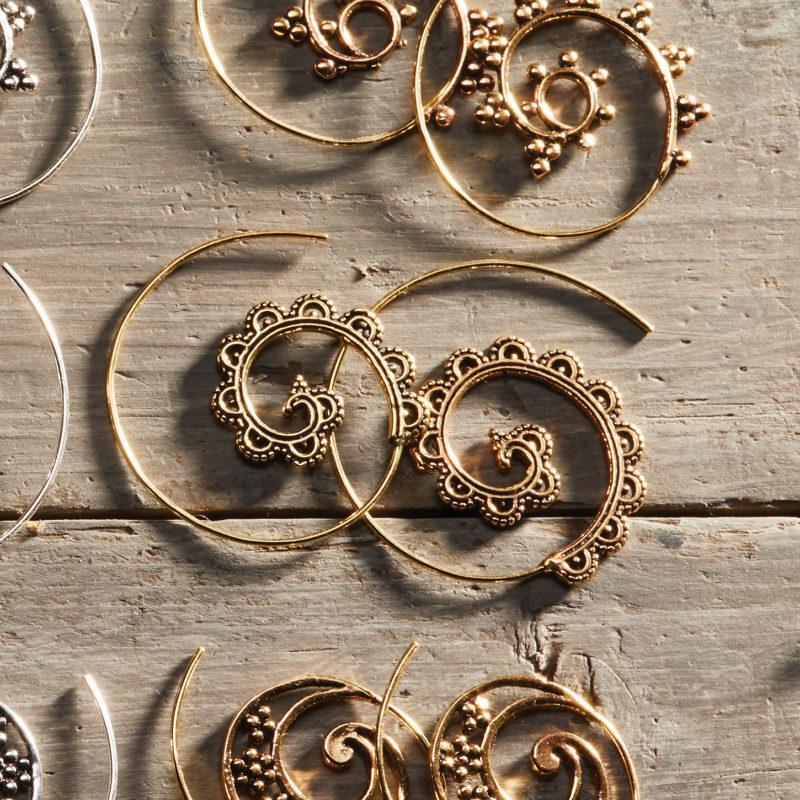 boho brass earrings