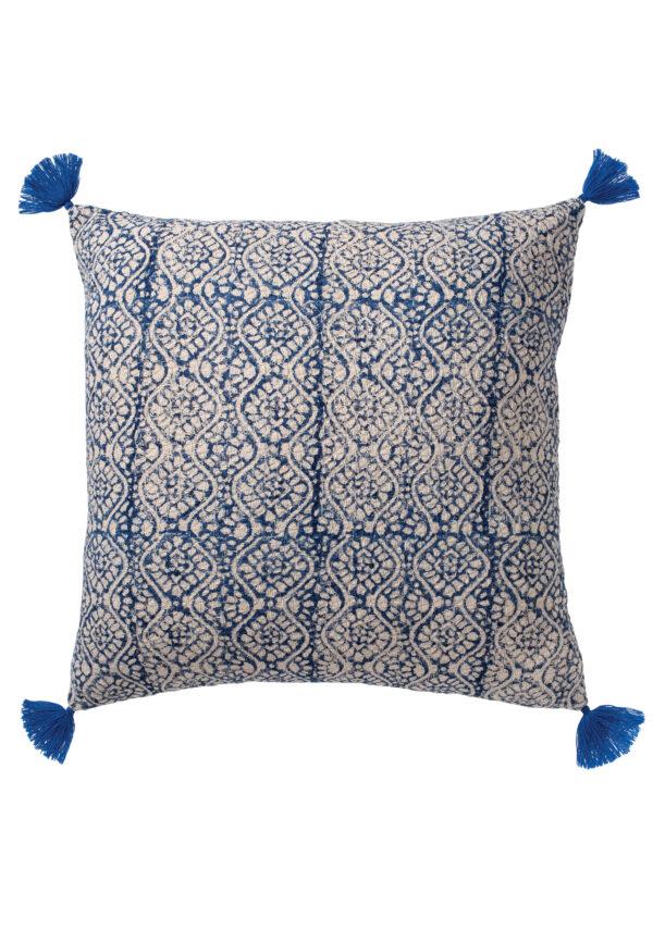 Blue block print boho cushion Wildwood Cornwall, Bude