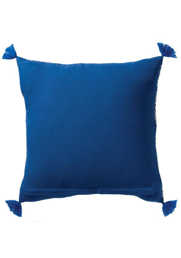 Back of blue block print cushion boho Wildwood Cornwall, Bude