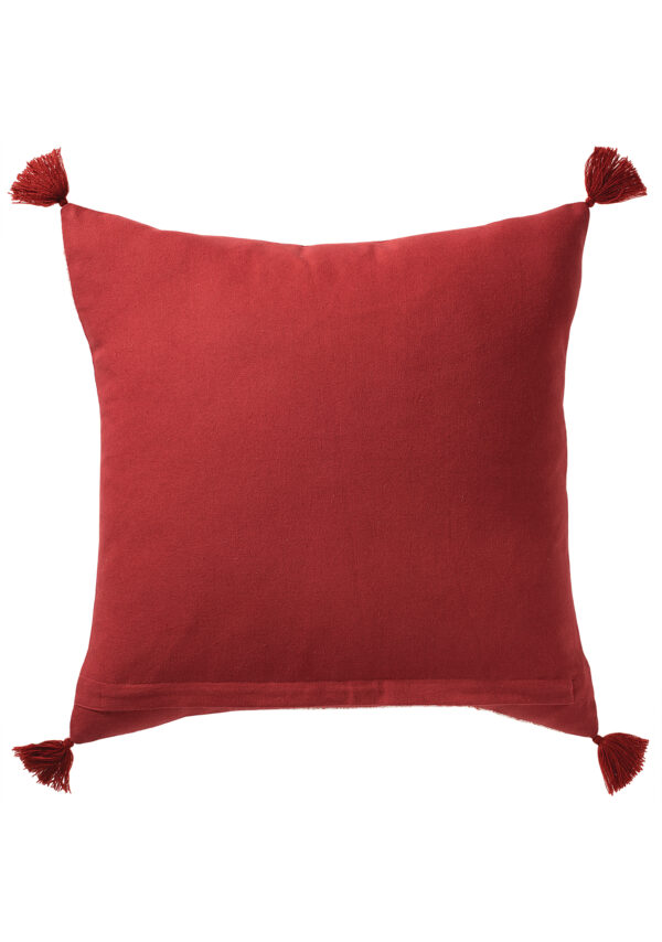 Rear of red block print cushion, Wildwood Cornwall, Bude