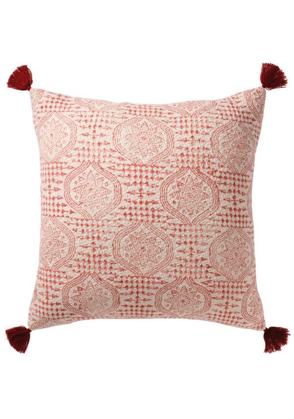 Red block print boho cushion, Wildwood Cornwall, Bude