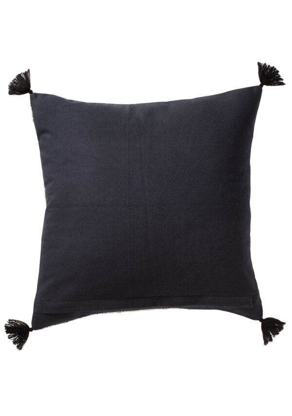 Black rear of fair trade cushion cover, Wildwood Cornwall, Bude