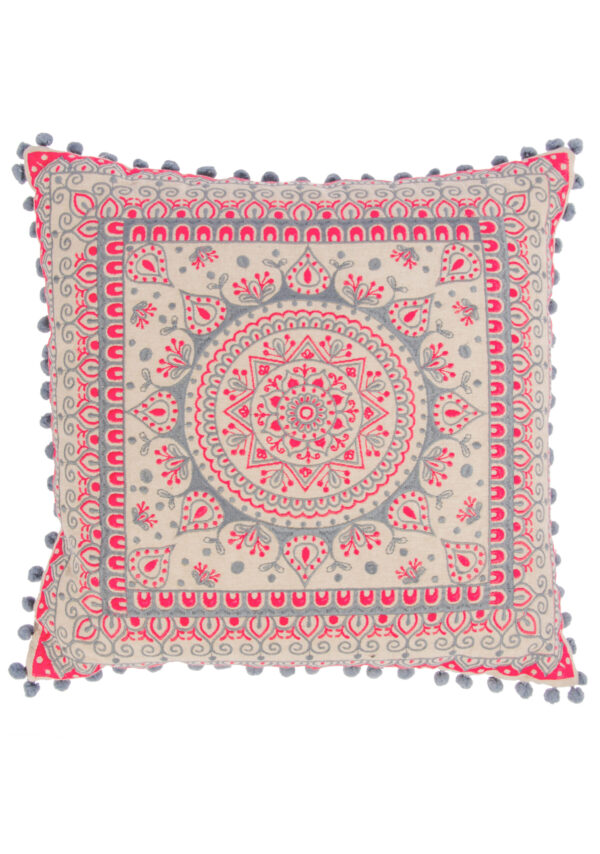 Mandala cushion cover, fairtrade grey Wildwood Cornwall, Bude