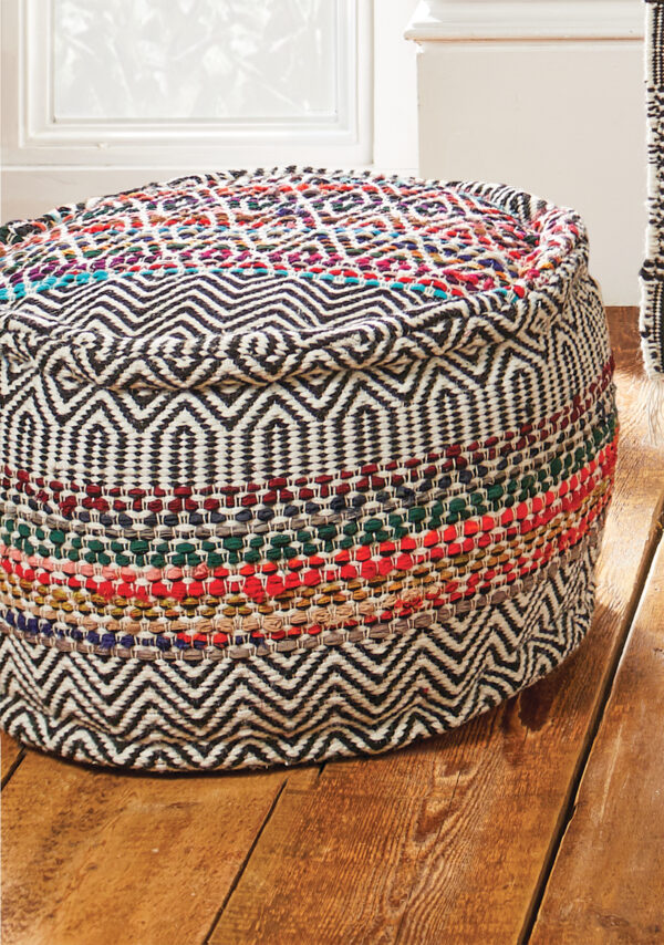 Sustainable ethically made aztec style pouffe, fair trade Wildwood Cornwall, Bude