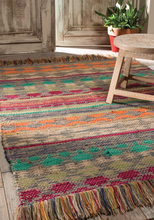 Panama jute and cotton sustainable fairtrade aztec rug, Wildwood Cornwall, Bude