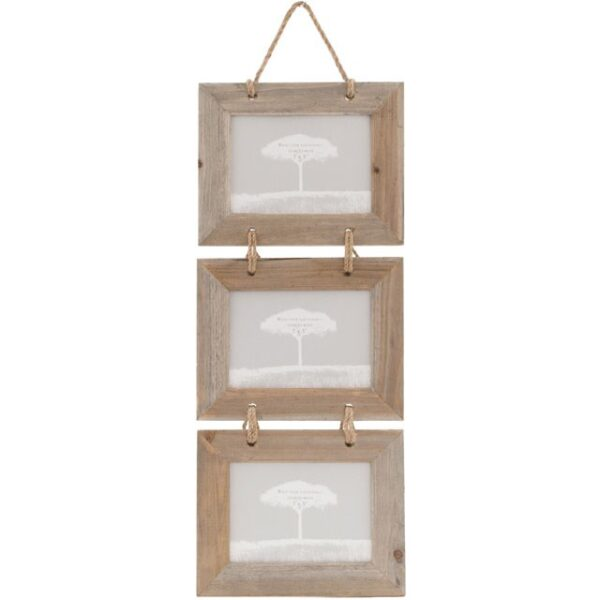 7 x 5 triple wood photo frame, Wildwood Cornwall