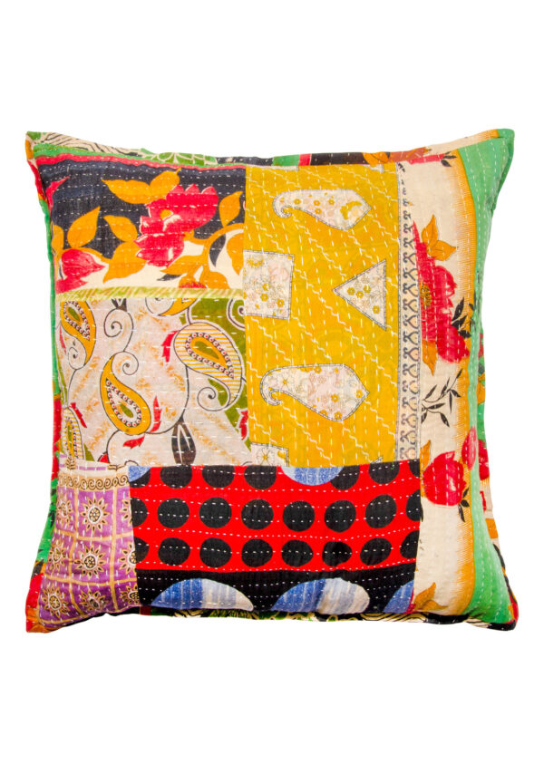 Kantha patchwork cushion fair trade, Wildwood Cornwall