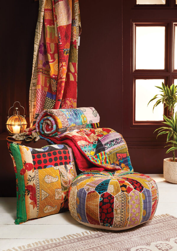 Kantha stitch patchwork quilt, fair trade