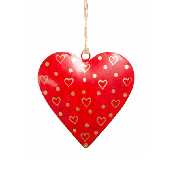 Red antique fair trade heart christmas wedding decoration Wildwood Cornwall