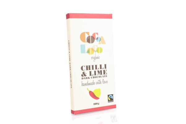 Cocoa loco Chilli and lime dark chocolate, Fair trade Wildwood Cornwall