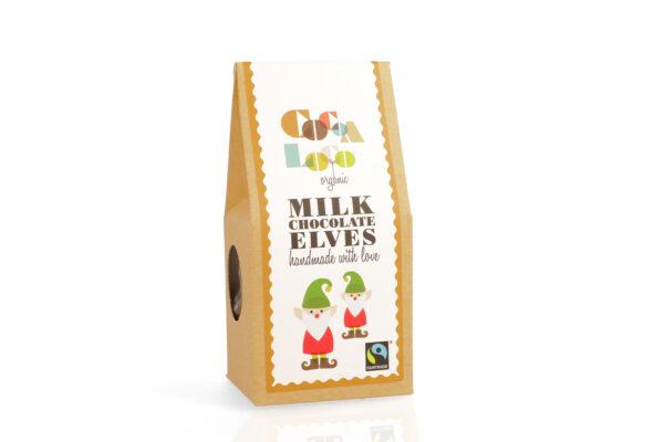 Box of milk chocolate organic elves, fair trade from Wildwood Cornwall Bude