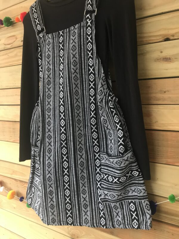 Thai weave black and white small dress