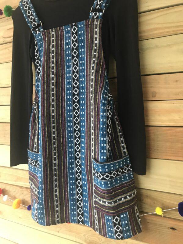 Thai weave dungaree pinafore dress