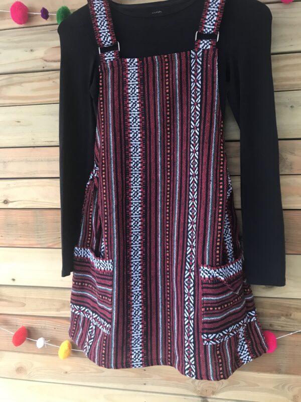 Red Thai weave dungaree dress Wildwood Cornwall