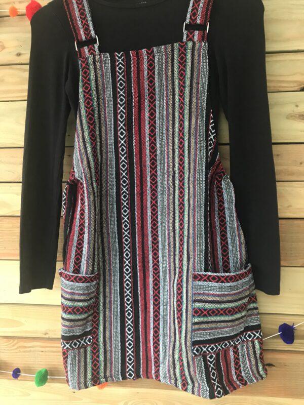 Fair trade ethical dungaree dress, thai weave Wildwood Cornwall