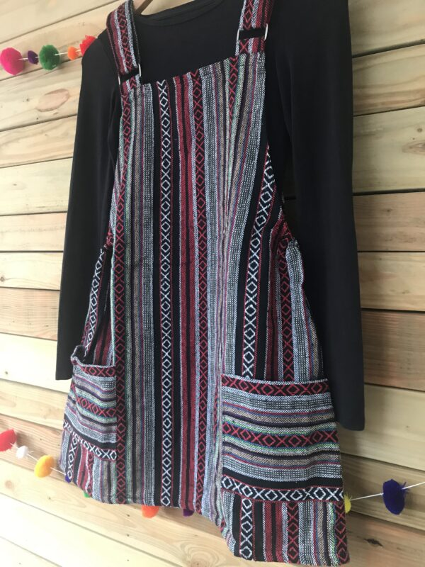 Red Thai weave dungaree dress Wildwood Cornwall ethical