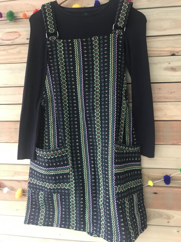Green Thai weave ethical fair trade dungaree dress