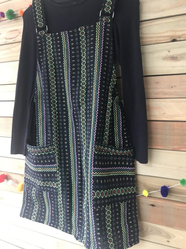 Thai weave dungaree dress ethical green