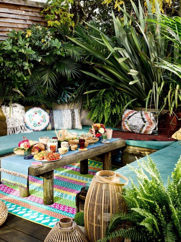 Outdoor boho bright rug Wildwood Cornwall Talking tables