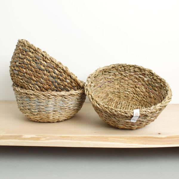 Neutral natural sari and seagrass bowls Wildwood Cornwall uk