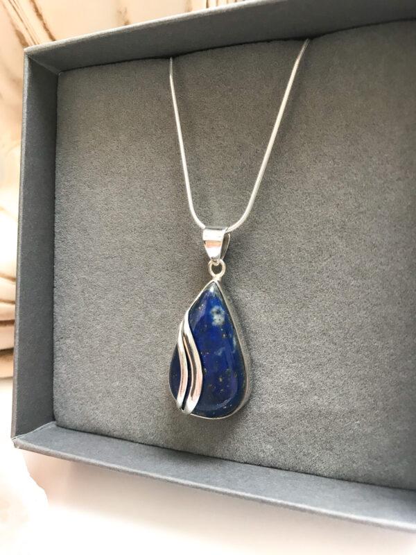 Teardrop sterling silver lapis lazuli pendant necklace Wildwood