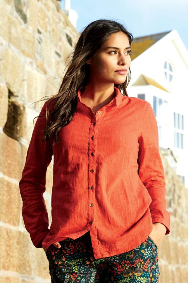 Fair trade ethical orange cotton shirt Nomads wildwood cornwall