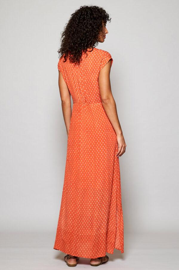 Fair trade maxi dress orange wildwood cornwall