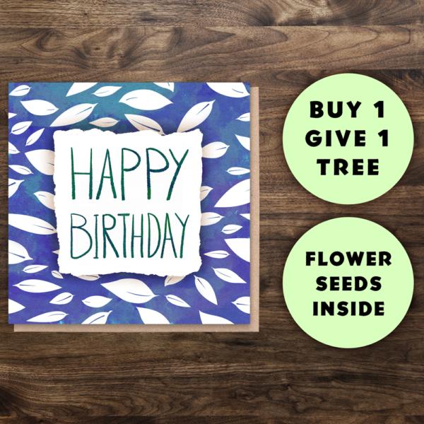 Happy birthday eco greeting card Wildwood cornwall