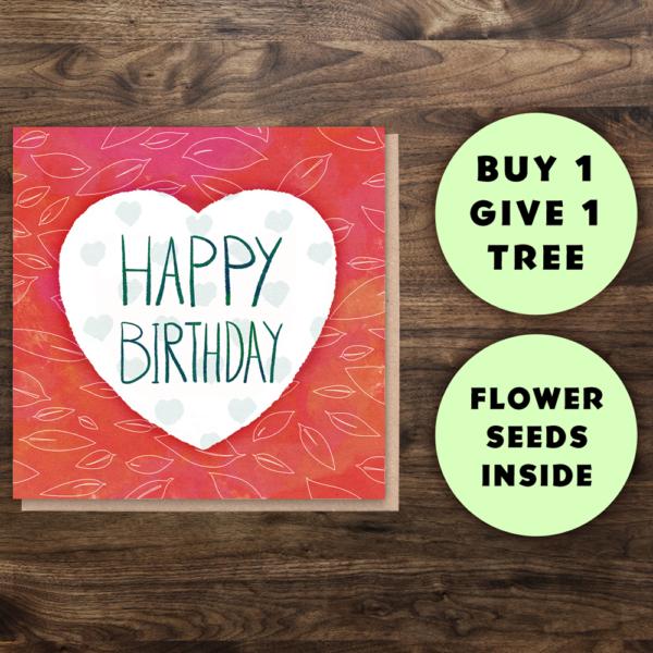 Happy birthday heart card seeds Wildwood Cornwall