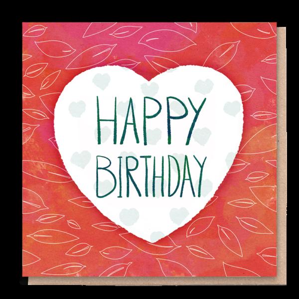 Happy birthday heart eco card Wildwood Cornwall