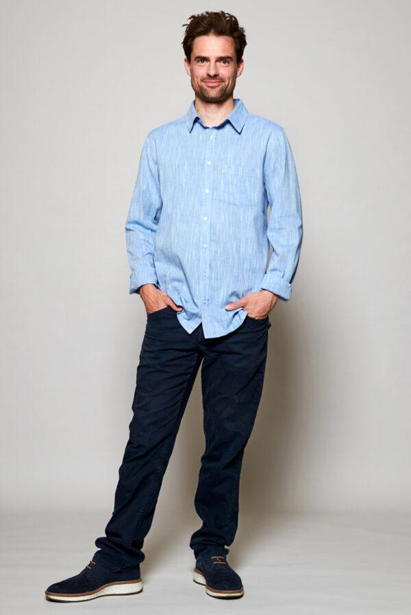 Mens ethical fair trade sustainable sky shirt Wildwood Cornwall