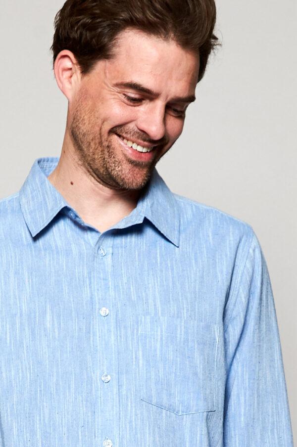 Mens fair trade cotton sky shirt Wildwood cornwall