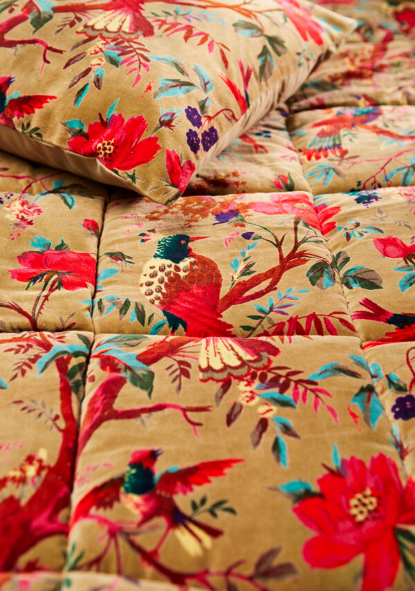 Olive ethical botanical cotton quilt Wildwood Cornwall