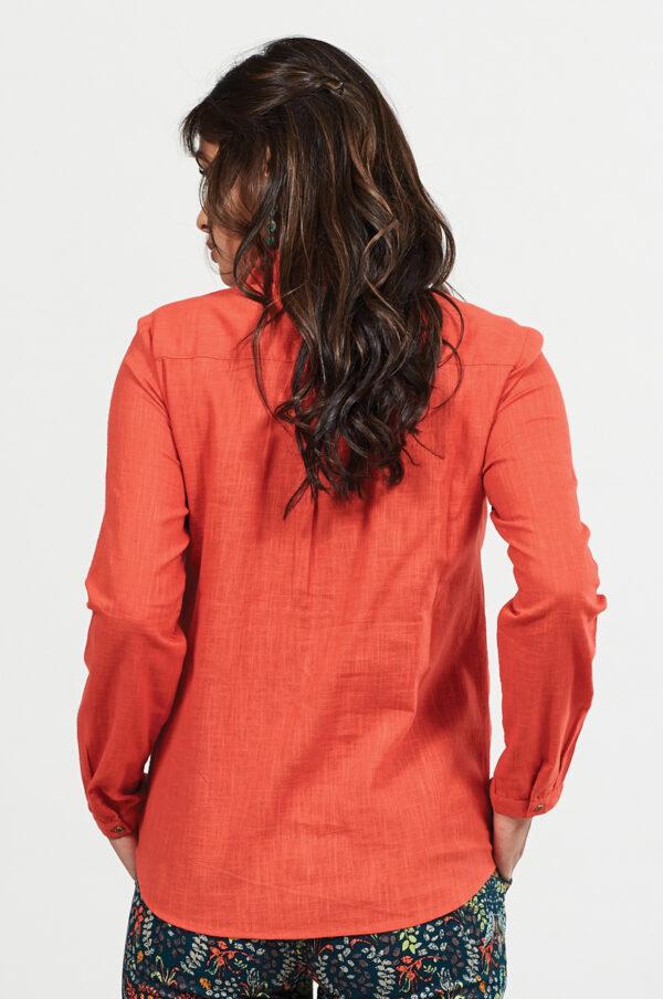 Textured cotton orange fair trade shirt Wildwood Cornwall