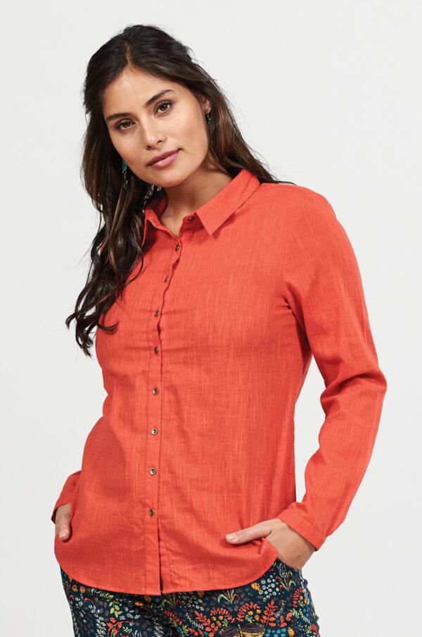 Textured orange womens cotton fair trade shirt wildwood Cornwall